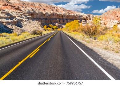 Road into Capitol Reef National Park, Utah in Autumn