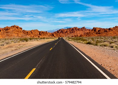 Road into stone desert. Valley of Fire State Park, Nevada, USA.