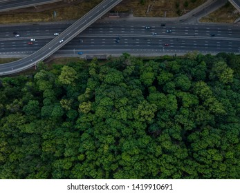 Road junction top view. Highways and forest. Traffic in the city. Aerial view