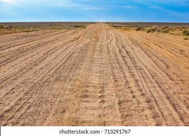 Road in the Kyzylkum Desert in Kazakhstan.