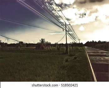 Road landscape with power line. Summer travel card. Sunset road banner template. Beautiful roadside during sunset. Electric line in countryside. Romantic car or motorbike journey digital illustration