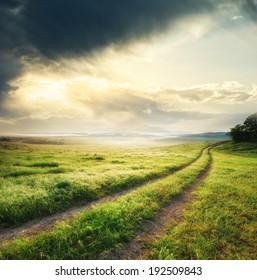 Road lane and deep sky. Nature design.