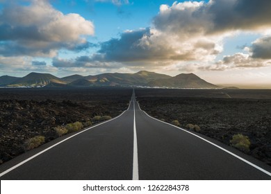 road of lanzarote island in spain