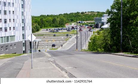 road of laurentian university, sudbury, ontario, canada. canadian urban road