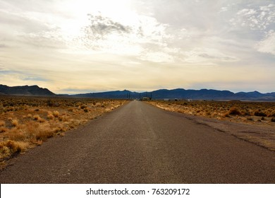 Road leading to the back gate of top secret Area 51 military base, a part of Nellis Air Force base and a supposed holding area for captured UFOs.
