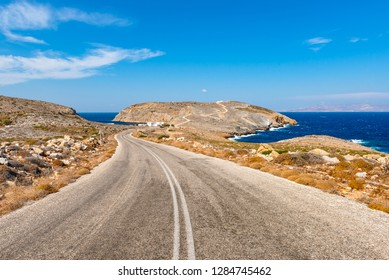 Road leading to Cheronissos beach at the north edge of Sifnos. Cyclades islands, Greece