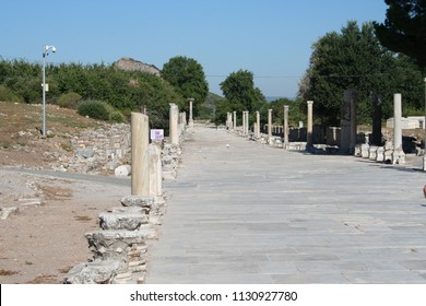 Road Leading to Ephesus Stadium. This road leads to the large stadium in Ephesus where people rioted in anger to the message of St. Paul. This road was travelled by Marc Anthony and Cleopatra.