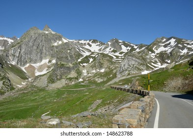 The road leading to the high alpine pass the Great St Bernard linking Italy to Switzerland