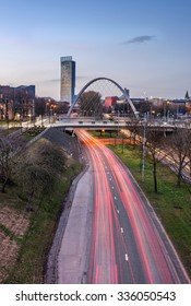 Road leading into Manchester city center.