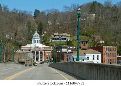 Road leading into the small town of Marshall nestled in the mountains of western North Carolina, USA, on a sunny day in March 2018
