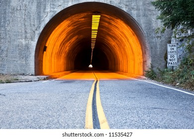 Road leading into the tunnel.