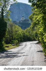 The road leading to the mountain Church of the Resurrection in foros in Crimea