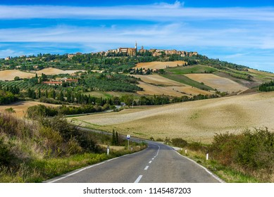 Road leading to Pienza, a town on top of the hill in Tuscany