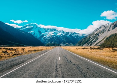 Road leading to snowy mountain