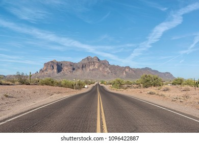 """Road leading to The Superstition Mountains, popularly called """"The Superstitions"""""""
