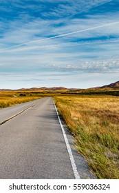 Road leading through the Wichita Mountains, Oklahoma.