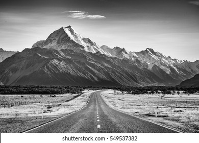 A road leading towards a large snow capped mountain in black and white