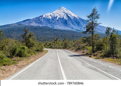 The road leads to the famous volcano Osorno. Scenic highway in South America - Carretera Austral