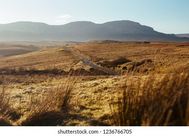 Road to Lealt village, Isle of Skye viewed from the Aussichtsplattform viewpoint, Isle of Skye, Inner Hebrides of Scotland