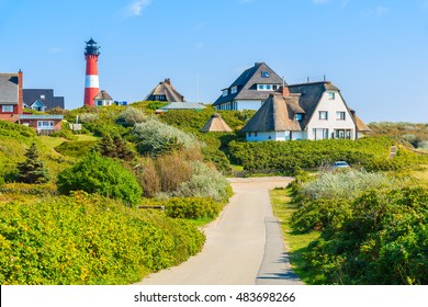 Road to lighthouse in Hornum village on southern coast of Sylt island, Germany