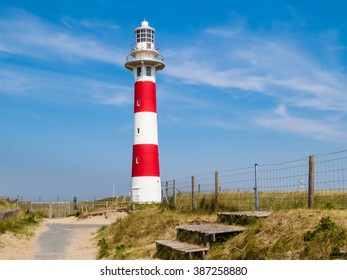 Road to lighthouse on the coast of the North Sea, Belgium