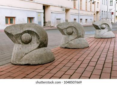 Road limiters in the shape of birds, Tartu