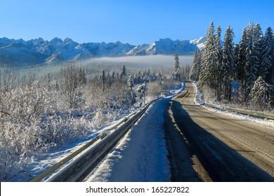 Road to Lysa Polana in winter landscape of High Tatra Mountains, Poland