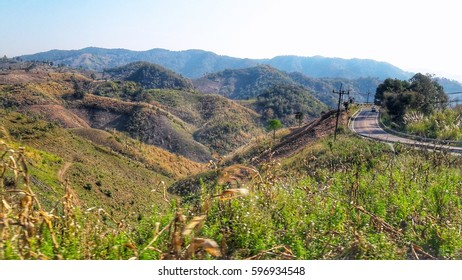 Road to Mae Salong, tourist attraction in Chiang Rai, Thailand. Mountain view.