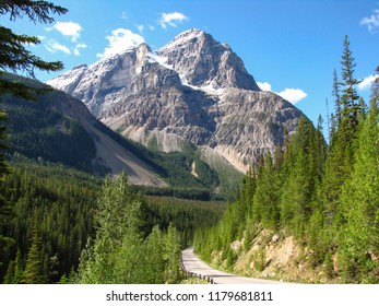 Road and majestic mountain at Spiral Tunnels Viewpoint, Yoho National Park, British Columbia, Canada