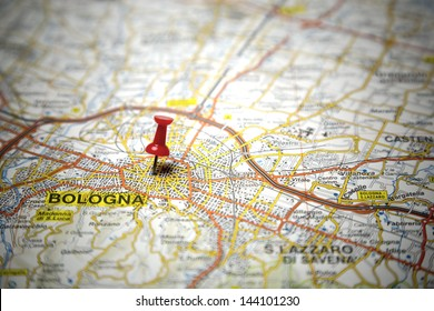 Road map of the city of Bologna, Italy