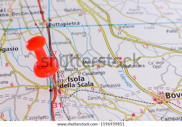 Road Map City Isola Della Scala Stock Photo (Edit Now) 1196939851