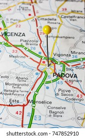 Road map of the city of Padova Italy