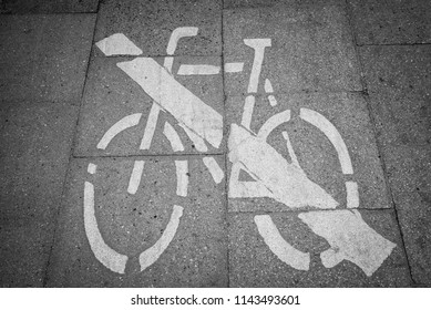 Road marking no bicycles allowed
