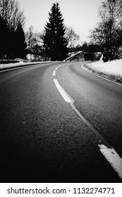 Road marking on a road in Winter