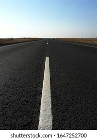 road marking thermoplastics on a new road