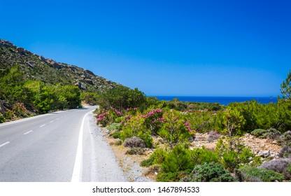 Road and Mediterranean sea, Kissamos, Crete, Greek Islands Greece Europe