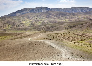Road in the middle of the Gobi Desert in Mongolia