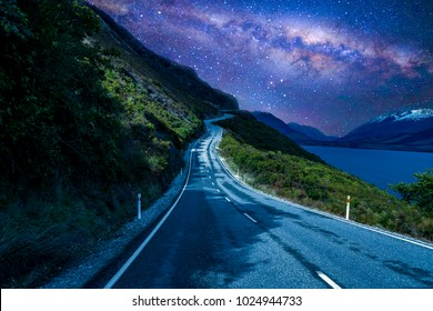 Road with milkyway background