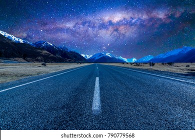 Road with milkyway background.