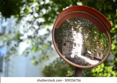 Road mirror in the yard