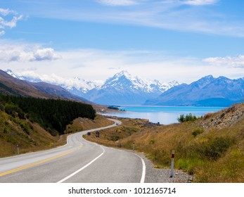 The Road to Mount Cook Over Lake Pukaki, The Highest Mountain in New Zealand and Popular Travel Destination. The Mountain is in Aoraki Mount Cook National Park in South Island, New Zealand.