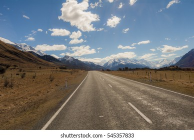 Road to mount Cook, Southern Alps, New Zealand. Road trip.