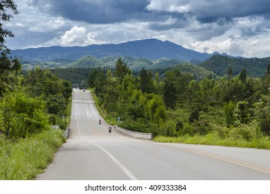 Road in mountain and blue sky background