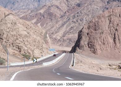 Road and mountain landscape, Egypt, South Sinai