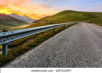 Road to the mountain Paradise at the sunrise