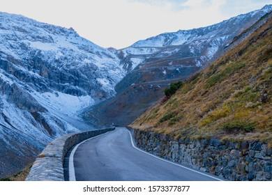 Road to the mountain at passo dello stelvio Italy.