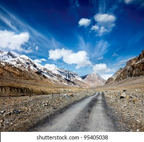 Road in mountains (Himalayas). Spiti Valley,  Himachal Pradesh, India