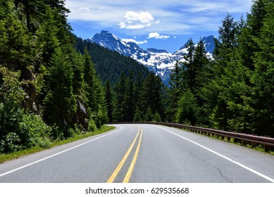 Road to the Mountains in North Cascades National Park, Washington State in Bright Color