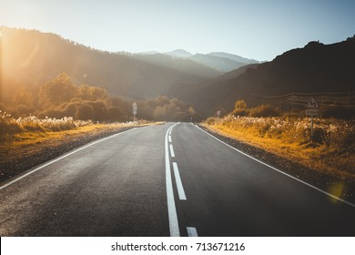 road in mountains. sunset.