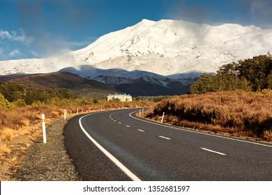 Road to Mt Ruapehu, Tongariro National Park, New Zealand